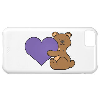 Valentine's Day Cute Brown Bear with Purple Heart iPhone 5C Case