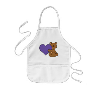 Valentine's Day Cute Brown Bear with Purple Heart Kids Apron