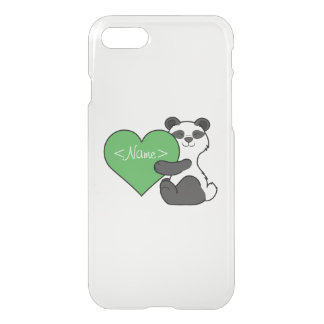 Valentine's Day Cute Panda Bear with Green Heart iPhone 7 Case