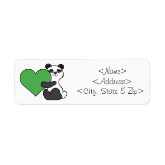 Valentine's Day Cute Panda Bear with Green Heart Return Address Label