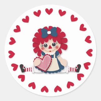 Valentine's Day - Cute Rag Doll Round Sticker
