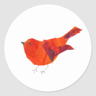 Valentine's Day Cute Red Bird Classic Round Sticker