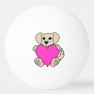 Valentine's Day Cute Tan Puppy with Pink Heart Ping Pong Ball
