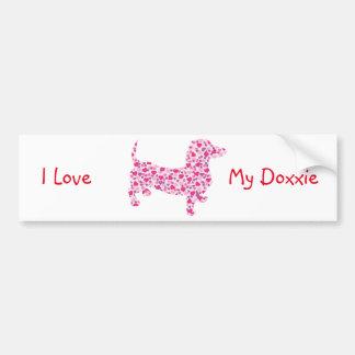 Valentine's Day Dachshund Car Bumper Sticker