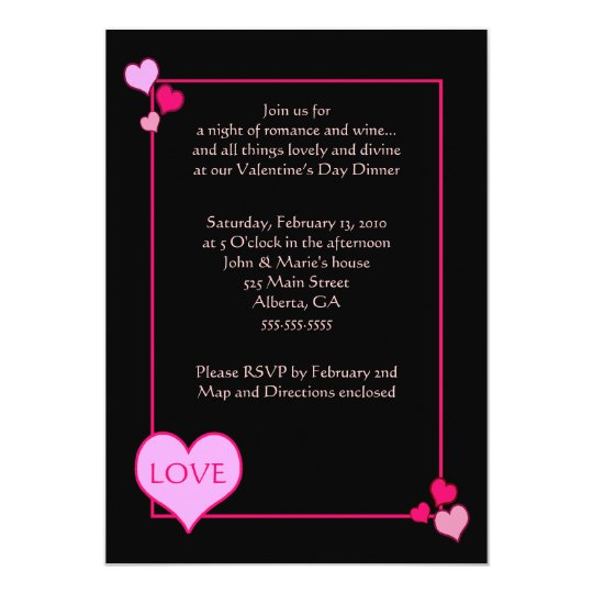 VALENTINES DAY Dinner Party 5 x 7 invitation