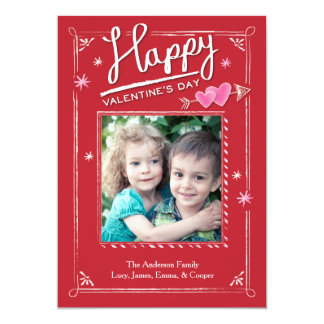 "Valentine's Day Double Heart and Arrow 5"" X 7"" Invitation Card"