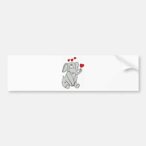 Valentine's Day Elephant Bumper Stickers