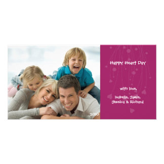 Valentine's Day Family Love Pink Photo Card