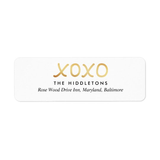 Valentines Day Faux Gold Foil XOXO Typography Return Address Label