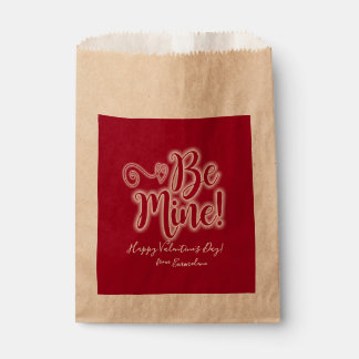 Valentine's Day Favor Bag Red Be Mine Hearts