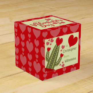 Valentine's Day Favor Box Hearts Cactus Red & Pink