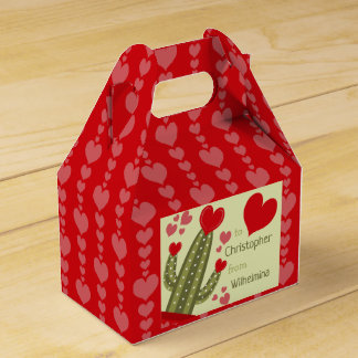 Valentine's Day Favor Box Pink & Red Hearts Cactus