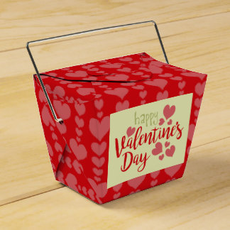 Valentine's Day Favor Box Red Pink Hearts Cactus