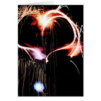 Valentine's Day fireworks Greeting Card