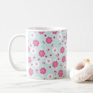 Valentine's Day Flowers Hearts Pink Coffee Mug
