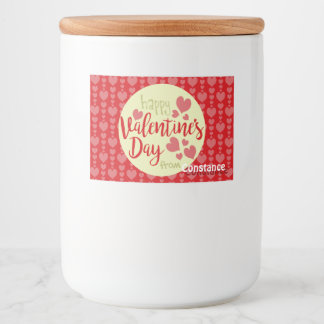 Valentine's Day Food Container Label Red Hearts