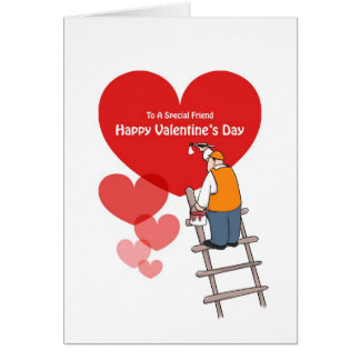 Valentine's Day Friend Cards, Red Hearts, Painter Card