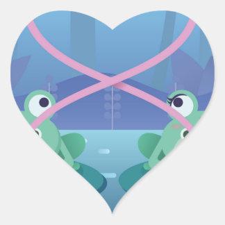 valentines day frog lovers heart sticker
