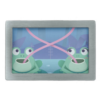 valentines day frog lovers rectangular belt buckles