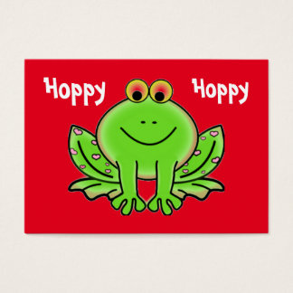 Valentine's Day Frog with Pink Hearts Kids Cards