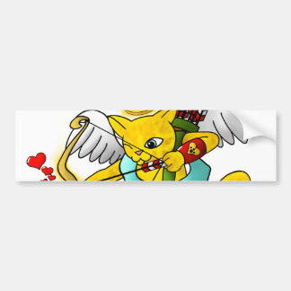 Valentine's Day Ginger Yellow Cupid Cat Bumper Sticker
