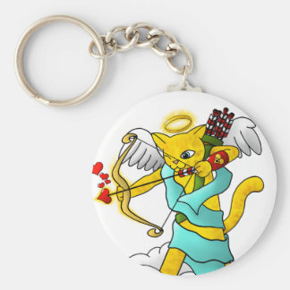 Valentine's Day Ginger Yellow Cupid Cat Key Ring