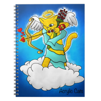 Valentine's Day Ginger Yellow Cupid Cat Notebook