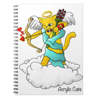 Valentine's Day Ginger Yellow Cupid Cat Notebooks
