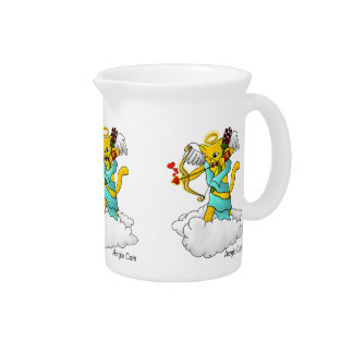 Valentine's Day Ginger Yellow Cupid Cat Pitcher