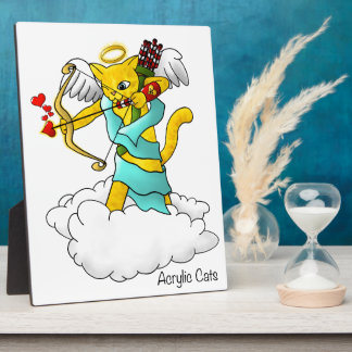 Valentine's Day Ginger Yellow Cupid Cat Plaque