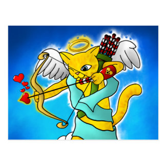 Valentine's Day Ginger Yellow Cupid Cat Postcard