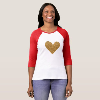 Valentine's day gold heart women's raglan shirt