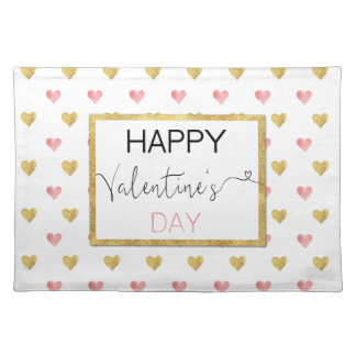 Valentine's Day Gold Pink Hearts Cloth Placemat