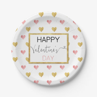 Valentine's Day Gold Pink Hearts - Paper Plate