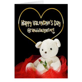 Valentine's Day - GRANDAUGHTER Teddy Bear/Red Rose Card