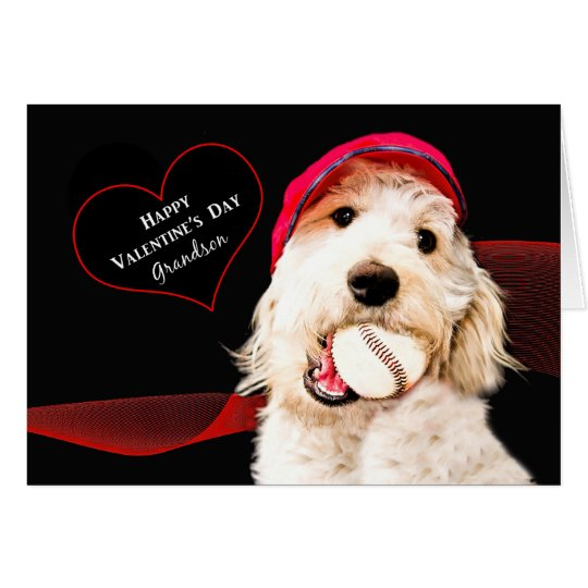 VALENTINE'S DAY - GRANDSON - DOG WITH BASEBALL CARD