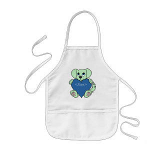 Valentine's Day Green Dog with Blaze & Blue Heart Kids Apron