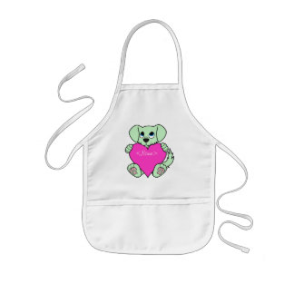 Valentine's Day Green Dog with Pink Heart Kids Apron