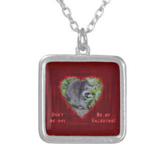 Valentine's Day Greeting - Shy Raccoon Silver Plated Necklace