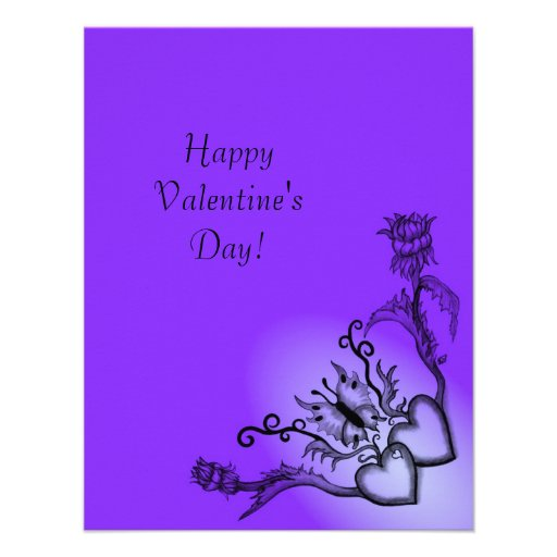 Valentine's Day - heart and butterfly on Rainbow Personalized Invites