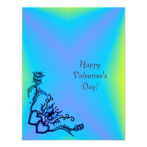 Valentine's Day - heart and butterfly on Rainbow Personalized Invite