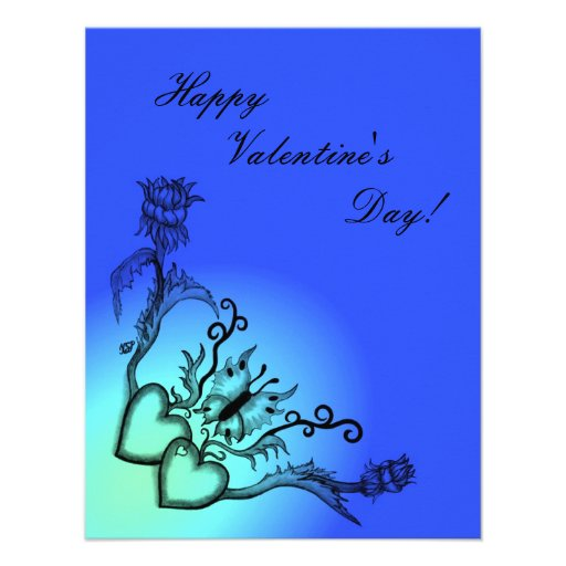 Valentine's Day - heart and butterfly on Rainbow Invitation