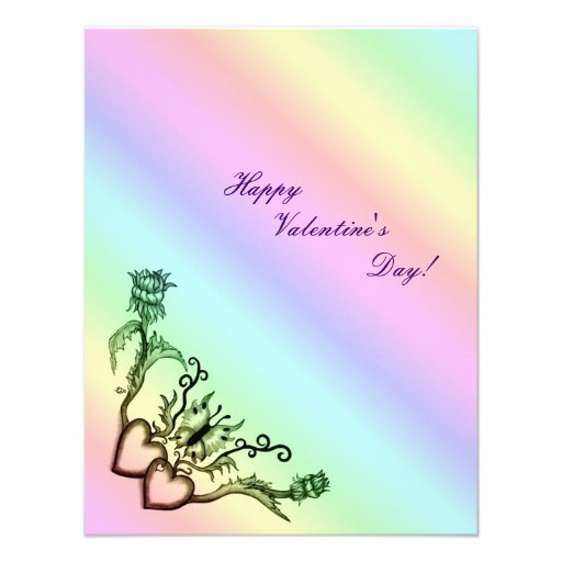 Valentine's Day - heart and butterfly on Rainbow Invites