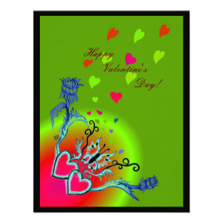 Valentine's Day - heart and butterfly on Rainbow Personalized Announcements