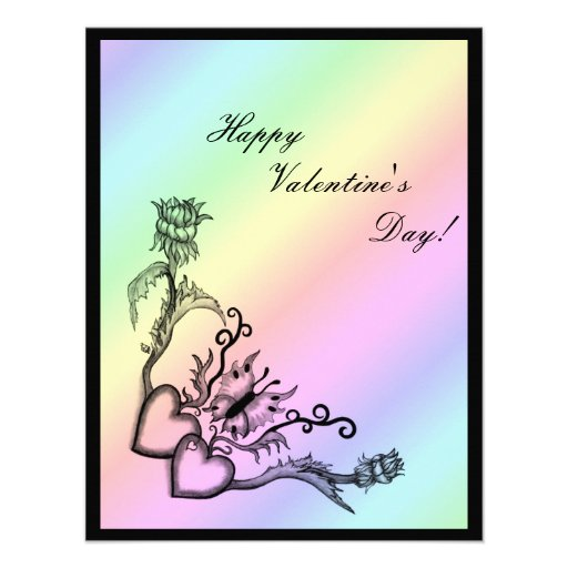 Valentine's Day - heart and butterfly on Rainbow Personalized Invitations