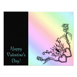 Valentine's Day - heart and butterfly on Rainbow Personalized Announcement