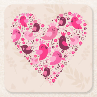 Valentines day heart and lovebirds square paper coaster