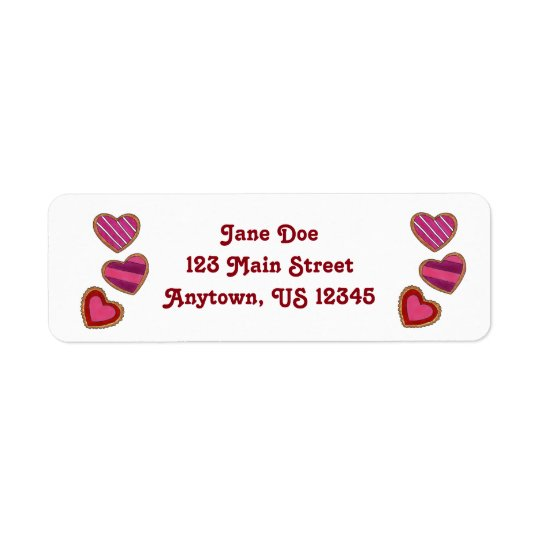 Valentine's Day Heart Cookie Love Address Labels