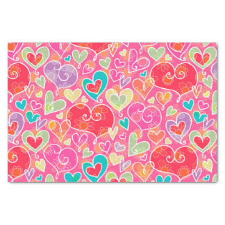 Valentine's Day Hearts and Flowers Tissue Paper