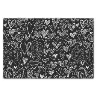 Valentine's Day Hearts on Black Tissue Paper